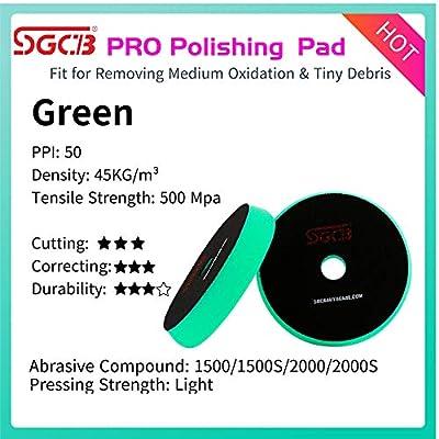 "SGCB Pro 6"" Car Polishing Pad Rotary Foam Pack of 5, Hook & Loop Flat Light Grip Pad Cutting Finishing Sponge Disc Buffing Pad for Car Beauty Gloss Restoring Used On RO/DA Polisher, Green: Automotive"