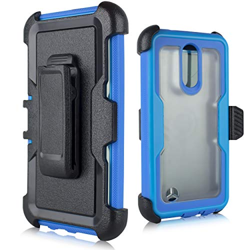 (LG Aristo Case, LG Fortune Case,LG Phoenix 3/LG K8 2017/LG Rebel 2 Case, [Built in Screen Protector] Heavy Duty Protection Belt Swivel Clip Holster with Kickstand [Clear Back] (Blue))