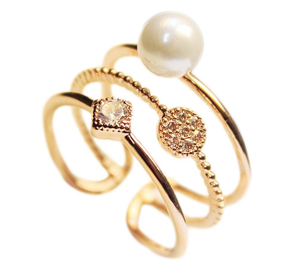 Hosaire Bague Femme romantiqu perle de forme et brillant strass Bague réglable trois chaine bijoux Cadeau de l'amour Argent