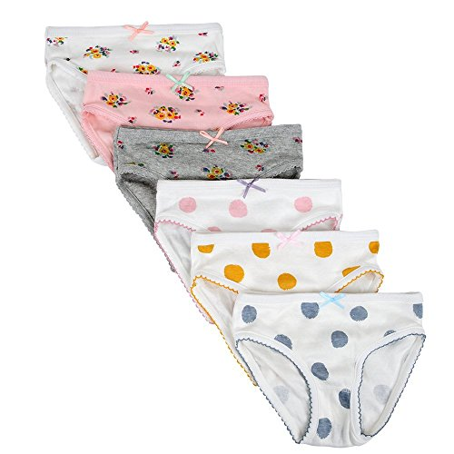 Closecret Kids Series Comfy Cotton Baby Underwear Little Girls' Assorted Briefs Panties with Bow-Knot (6-7 Years, Style 2) by Closecret