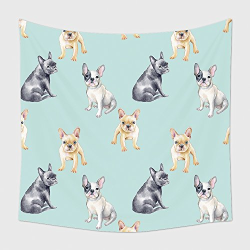 Home Decor Tapestry Wall Hanging Watercolor Seamless Pattern Of French Bulldog Pet Puppy Background Animal Wallpaper for Bedroom Living Room Dorm