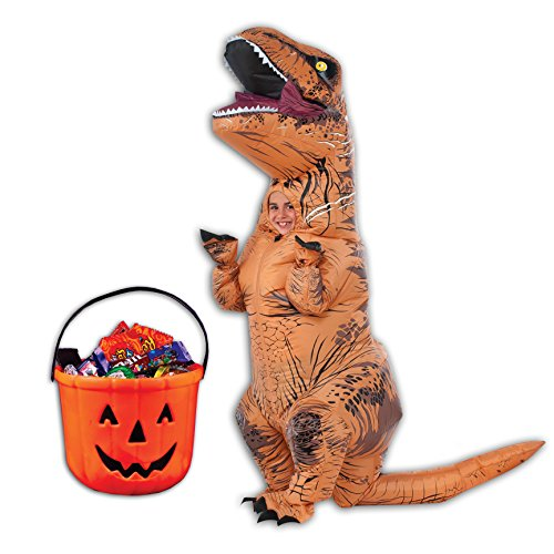 Birthdayexpress Inflatable Child T Rex Costume And Pumpkin Candy Pail Bundle