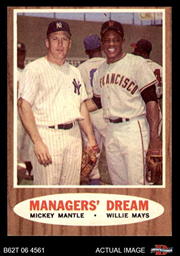 1962 Topps # 18 Managers' Dream Mickey Mantle / Willie Mays Giants / Yankees (Baseball Card) Dean's Cards 5 - EX Giants / Yankees