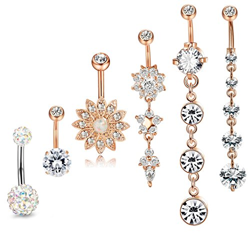 JOERICA 3PCS 14G Stainless Steel Belly Button Rings Navel Body Jewelry Belly Piercing CZ Inlaid (G:6Pcs,Rose-Gold)