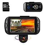 BLUEPUPILE Dash Cam 1080P Dual Lens Dashboard Camera Recorder 170° Wide Angle Lens 3'' LCD Screen GPS