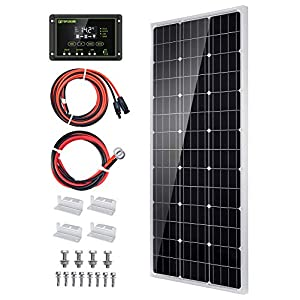 100W 12V Solarpanel Solarmodul Solarpanel-Set 100 Watt 12 Volt Monokristallines Off-Gitter-System für Wohnmobil, Boot…