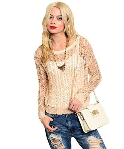 2LUV Women's Long Sleeve Open Knit Cropped Sweater Light Pink S (SW030)