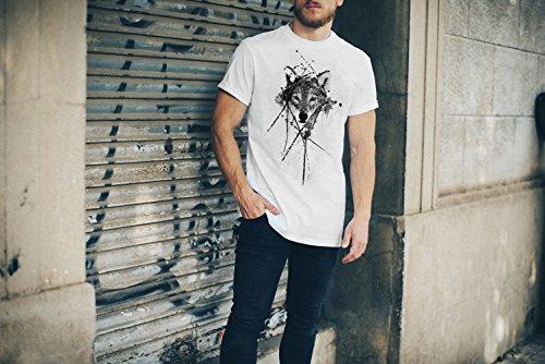Wolf T-Shirt Herren, weiß mit Aufdruck