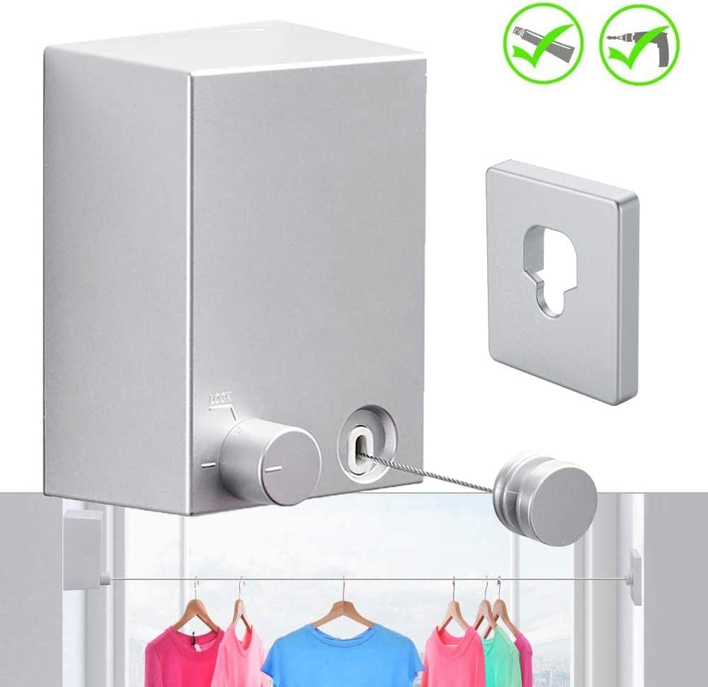 JOOM Retractable Clothesline Indoor Outdoor Heavy Duty Stainless Steel Line Wall Mounted Laundry line for Bathroom Hotel Style Clothesline 13.8 Feet with ABS Case+ Aluminum (one line, Silver)