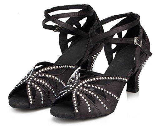 Dance Latin Ankle 6cm Tango Evening Peep Toe Shoes Modern Ballroom Rhinestones MGM Strap Heel Black Sandals Joymod Women's Satin Wedding UwgExn7qv