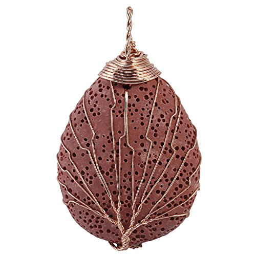 SUNYIK Brown Lava Rock Water Drop Tree of Life Necklace,Handmade Copper Wire Wrapped Pendant Jewelry for Unisex ()