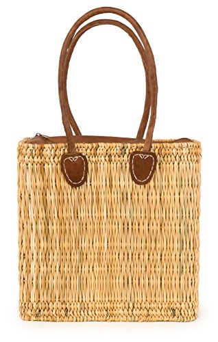 Moroccan Straw Tote Bag w/ Leather Zip Top, 15