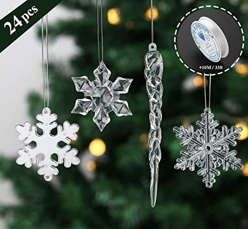ilauke 2'' Snowflake 5'' Icicle Ornaments Acrylic Crystal Christmas Tree Ornament Clear Hanging Decoration, Set of 24