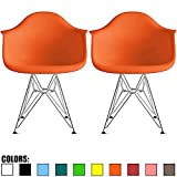2xhome Set of 2 Orange Mid Century Modern Vintage Designer Molded Shell Plastic Armchair With Arms Back Chrome Wire Metal Base Eiffel Dining Chairs Living Room Accent Dowel Office Guest Work Desk DAR Review