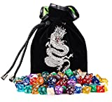 Rogues & Knaves 18 Complete DND Dice Sets (126 Polyhedral Dice!) With Platinum Dragon Velvet Dice Bag; Sets Of Dice for Role Playing Games; Mix Of Solid, Translucent, Swirly, And Glitter Styles