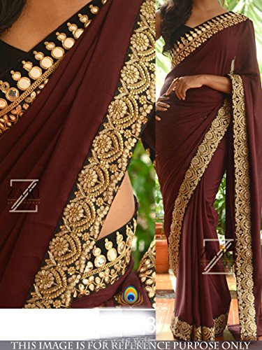 Indian Trends Exclusive Designer Chocolate Brown Grorgette Bollywood Replica Saree