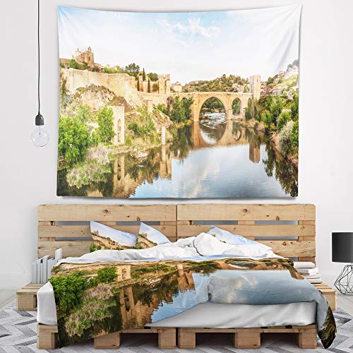 Designart TAP7055-60-50 'Toledo Bridge in Spain Landscape' Photography Tapestry Blanket Décor Wall Art for Home and Office, Large: 60 in. x 50 in, Created on Lightweight Polyester Fabric by Designart