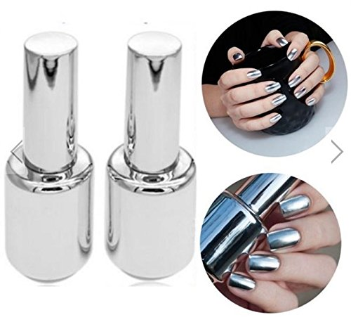 Polish Varnish (15ML Metallic Mirror Effect Metal Silver Nail Art Polish Varnish & 15ML Top Coat by gokustore)