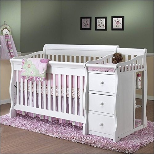Pemberly Row 4 in 1 Convertible Crib and Changer Combo in White -