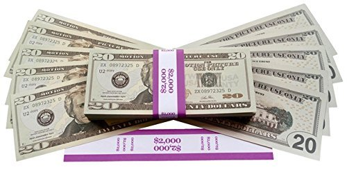 PROP MONEY Realistic double sided fake cash copy 20 dollar bills - 2K Stack of 20's plus FREE bank strap. Movies, Party Decorations, fancy dress, magic tricks, money guns