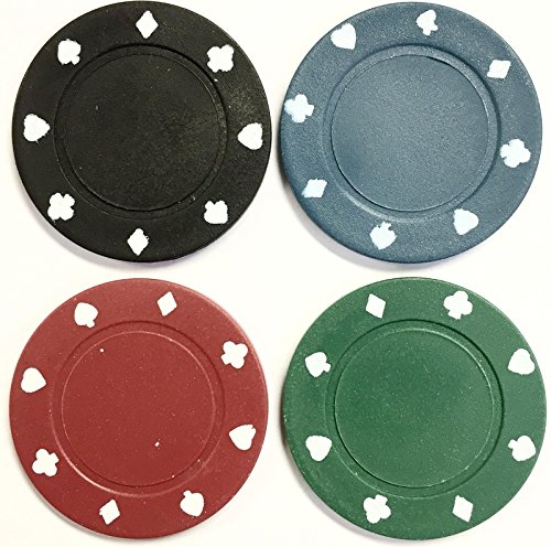 100 x POKER ROULETTE CASINO CHIPS - SUITED DESIGNS IN 4 COLOURS Misc