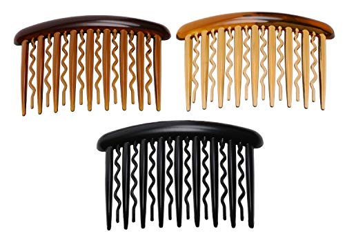 Penta Angel 3Pcs Plastic Hair Side Combs Hairpin Clip with Teeth Hair Accessories for Women Girls Fine Hair and Crafts DIY