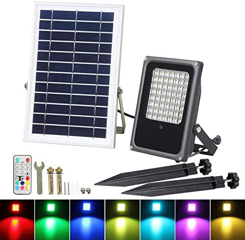 RGB Solar LED Flood Lights, T-Sunrise 50W Color Changing Outdoor Security Floodlight, IP65 Waterproof, Remote Control, Landscape Lighting Solar Spotlight for Decking Lighting, Patio Lighting