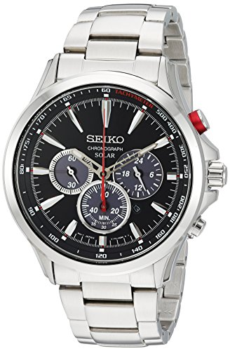 Seiko Men s Solar Chronograph Japanese-Quartz Watch with Stainless-Steel Strap, Silver, 21 Model SSC493