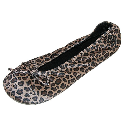 of ISOTONER Classic Satin and Black Pack Women's Slippers Ballerina Cheetah 2 SSYpxw