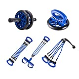 Pinty All-in-One Full Workout Equipment Portable Ab Wheel Roller, Resistance Bands, Chest Expander, Gym Pushup Bars Handles Leg Trainer home fitness equipment for Home Fitness