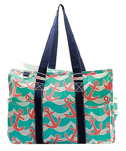 N. Gil All Purpose Organizer 18'' Large Utility Tote Bag (Splash Anchor Navy)