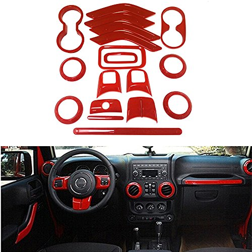 Opall 18PCS Full Set Interior Decoration Trim Kit Steering Wheel & Center Console Air Outlet Trim, Door Handle Cover Inner, Passenger Seat Handle Trim For Jeep Wrangler JK JKU 2011-2017 4 Door (Red)