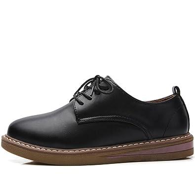51800b75043b94 Chaussure de ville femme à lacet derby robe bateau cuir vernis simple  élégant noir 40