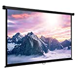 VonHaus 80 Inch Manual Pull Down Projector Screen 16:9 HD 4K Widescreen For Indoor Home Cinema Theater - Suitable For HDTV, Sport, Movie and Gaming