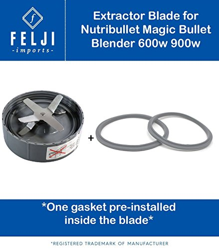 Felji Extractor Blade Cutter includes 2 Gaskets for NutriBullet Blender 600w 900w by Felji