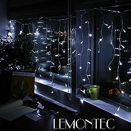 Solar String Lights, Lemontec 200 Led Holiday String Lighting Outdoor Solar Patio Lights Fit Chrismas Garden Wedding Party Landscape[White], 2 Pack 400 LED