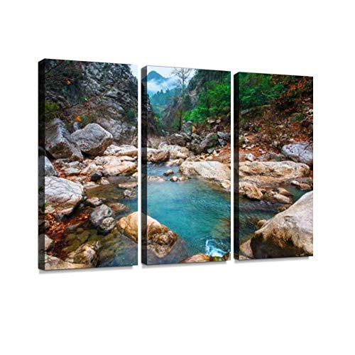 Mountain Lake with Turquoise Water in a Narrow Gorge. Print On Canvas Wall Artwork Modern Photography Home Decor Unique Pattern Stretched and Framed 3 Piece