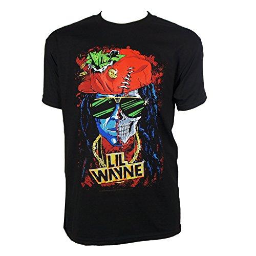Lil Wayne Merchandise - Lil Wayne Half Skull Black Short Sleeve Men's T-Shirt (304) X-Large