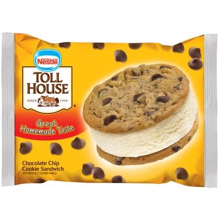 Nestle, Toll House Chocolate Chip Cookie Ice Cream Sandwich, 6.0 Oz. (12 Count)