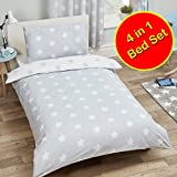 Cot Bed Duvet Cover Price Right Home Grey and White Stars 4 in 1 Junior/Toddler Bedding Bundle Set (Duvet, Pillow and Covers)