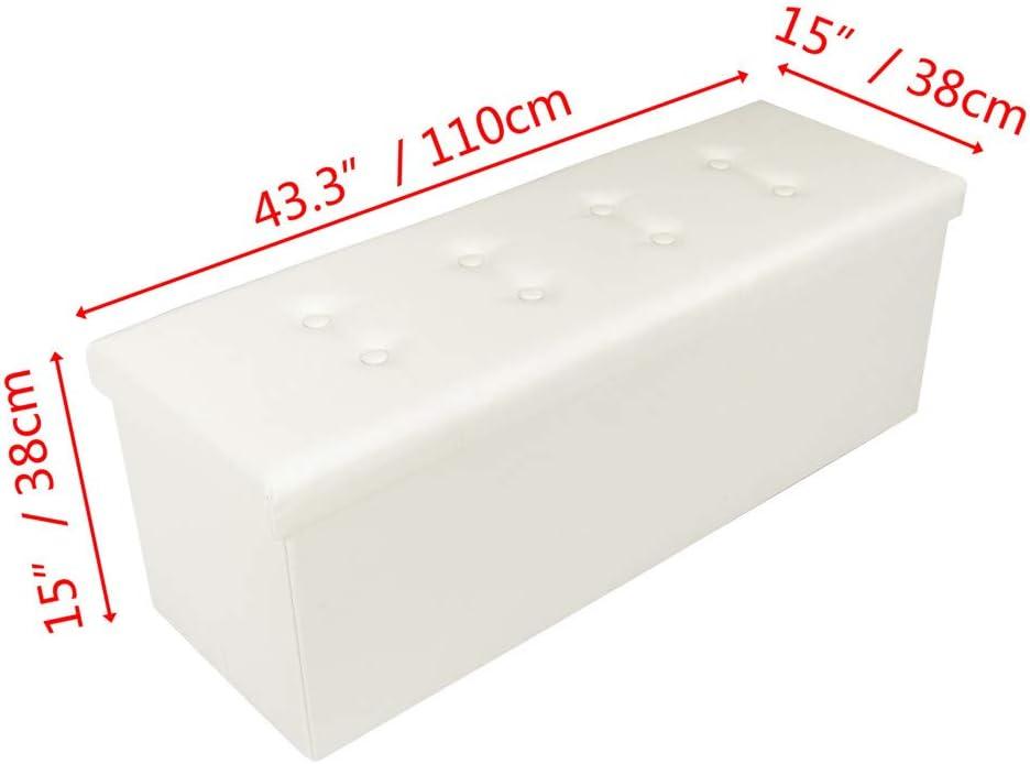 Tenozek Folding Storage Ottoman Storage Chest Foot Rest Stool PVC Leather Bench White