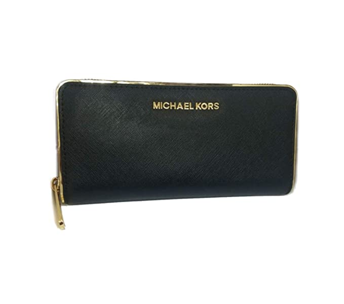 053ec5ff6259 Michael Kors Saffiano Frame ZA Continental Leather Wallet, Black: Amazon.co. uk: Clothing
