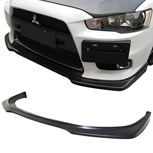 Front Bumper Lip Fits 2008-2015 Mitsubishi Lancer EVO X | R Style Black PU Front Lip Finisher Under Chin Spoiler Add On by IKON MOTORSPORTS