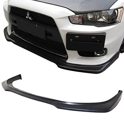 Front Bumper Lip Fits 2008-2015 Mitsubishi Lancer EVO X | Ralliart Style Black PU Front Lip Finisher Under Chin Spoiler Add On by IKON MOTORSPORTS | 2009 2010 2011 2012 2013 2014