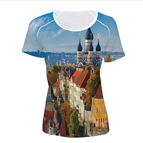 T-Shirt Pictures Print,Tower Russian Cathedral Old City Culture,Women