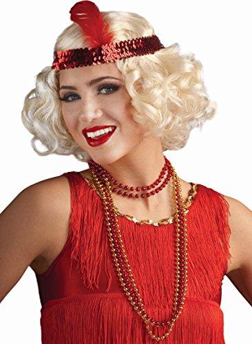 Blonde Curly Flapper Wig With Headband (Flirty Flapper Blonde Wig with Headband)
