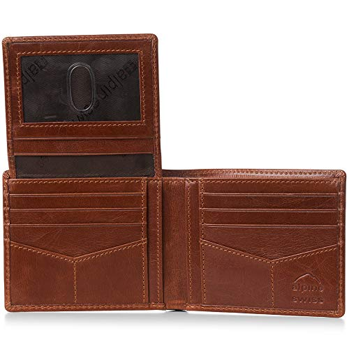(Alpine Swiss RFID Mens Wallet Deluxe Capacity Passcase Bifold With Divided Bill Section Passcase Brown)