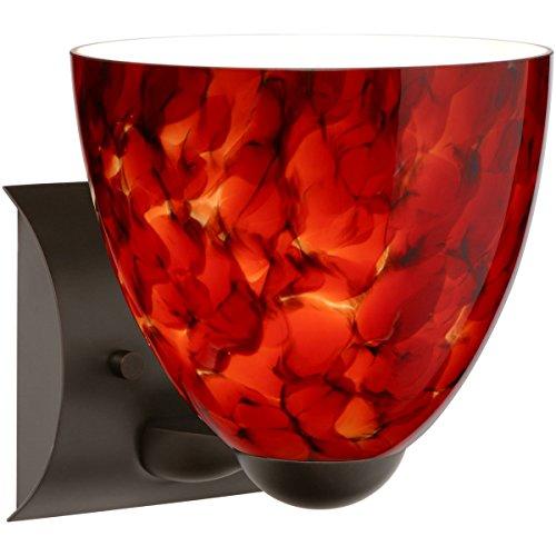 Besa Lighting 1WZ-757241-LED-BR 1X75W A19 Sasha II Wall Sconce with Garnet Glass, Bronze Finish
