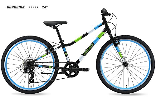 "Guardian Bikes Company Ethos Safer Patented SureStop Brake System 24"" Kids Bike, Black/Blue/Green"