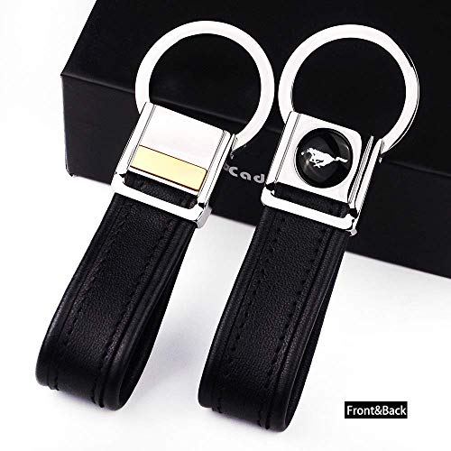 Mustang Leather Grain - Cadtealir Highlight Stainless Steel Metal tab Lock bucle Inlaid with 18k Golden chip with Full Grain Nappa Leather Strap car Key Chain Lanyard Clips Ring for Mustang for Men Woman Accessories